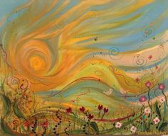 'Spring' acrylic painting by leanne hughes SOLD