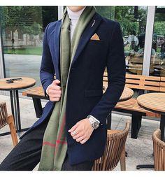 86e608a5fdc85 Men's Long Blazer Vintage Retro Slim Fit Casual Wool Blend