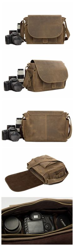 Rustic Leather Messenger Bag Crossbody Shoulder Bag with Removable Camera Inserts - DSLR Leather Camera Bags - Elektronics
