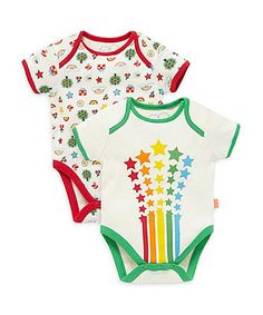 Little Bird by Jools Shooting Stars and Rainbow Bodysuits - 2 Pack