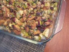 My Favorite Stuffing | A traditional stuffing recipe is taken to the next level with apples and dried cranberries. You'll want to make this homemade stuffing as a Thanksgiving side dish.