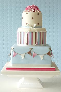 Bunting, stripes and polka dots cake from Rachelles Bespoke Cakes
