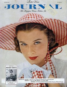 The cheerful gingham-filled cover of the June 1949 copy of Ladies Home Journal magazine
