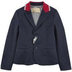 Veste de blazer en gabardine - Bleu marine John Galliano Kids для мальчиков   Melijoe.com