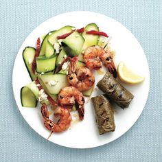 Grilled spiced shrimp and dolmades with zucchini salad Photo by Roberto Caruso Delicious Dinner Recipes, Healthy Recipes, Healthy Eats, Delicious Food, Healthy Foods, Shrimp Brochette, Grilled Shrimp Recipes, Zucchini Salad, Mediterranean Dishes