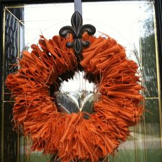 Burlap fall wreath made with a wire clothes hanger.