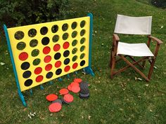 Large Connect 4 Yard Game. Made with plywood, spray paint.