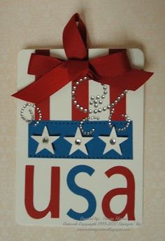 Stampin' & Scrappin' with Stasia: July 2010- she tells you what you need to make this wall hanging for the 4th of July.