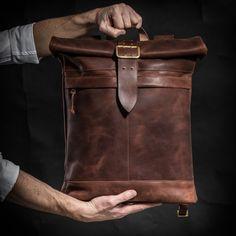 Mochila mochila de cuero con hebilla vintage rodillo superior