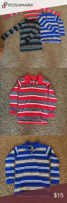 Faded Glory Boys Polo-Style Shirts (3), Size 6-7 Faded Glory Long Sleeve Polo-Style Shirts, Boys Size 6-7. Red with Gray/White Striping, Royal Blue with Gray/White Striping, Black with Gray/Teal Striping. All are in Excellent Condition! These look great for a casual occasion paired with jeans and also look sharp with slacks for a more dressy occasion. Faded Glory Shirts & Tops Polos