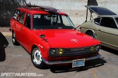 Datsun 510 Wagon done in a Radio Flyer red wagon style.