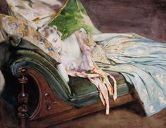 Irving Ramsey Wiles - The Green Cushion - ca. 1895 - Watercolor, graphite, and gouache on paper.