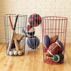 great for stuffed animals. Kids Flea Market Wire Ball Bins - $35.00 »   These wire baskets would add an industrial feel to your child's room while still allowing you to see what's inside.