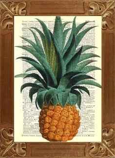 Pineapple Print Dictionary Art Vintage Print by PrintLand on Etsy, $9.50