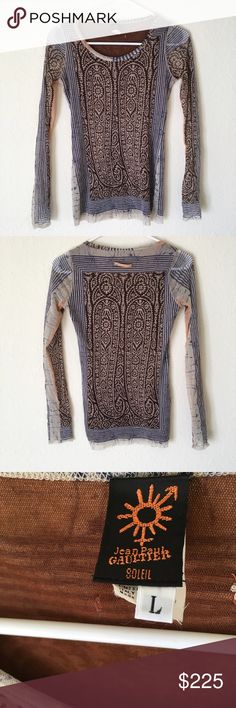 "Tribal! Jean Paul Gaultier Sheer Long Sleeve Measurements UNSTRETCHED: Sleeves- 25"", Back collar to bottom- 25.5"" , Pit to Pit- 15"". Double layer, see through sleeves, nylon. Jean Paul Gaultier Tops Tees - Long Sleeve"
