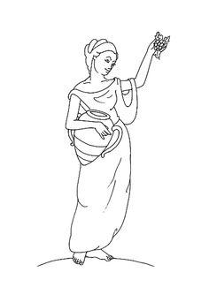 Hestia Greek Goddess Coloring Page Sketch Coloring Page Roman Mythology, Greek Mythology, Adult Coloring Pages, Coloring Sheets, Outline Drawings, Greek Gods, Art Inspo, Line Art, Design Art