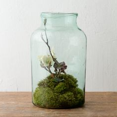 """A volume stamp on the base assures the authenticity of this vintage glass storage jar, each one crafted in Hungary nearly a century ago.- A one-of-a-kind terrain find- Glass- Jar may arrive with dust from barn storage; can be polished as shown above- Hand wash with warm water and mild soap- Stamps on base may vary- HungaryApproximately 16""""H, 9"""" diameter"""