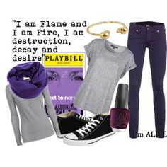 """Broadway Inspired Clothes! - """"Next to Normal"""" - Gabe  Perfect Sunday Outfit: Grey cashmere + black chucks+dark skinny jeans + infinity violet scarf + plum nails and a gold bangle"""