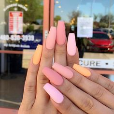 In look for some nail designs and ideas for your nails? Here is our set of must-try coffin acrylic nails for fashionable women. Summer Acrylic Nails, Best Acrylic Nails, Pastel Nails, Summer Nails, Peach Nails, Nail Pink, Purple Nails, Winter Nails, Aycrlic Nails