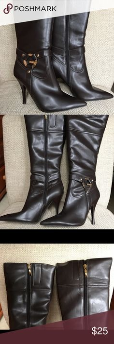 """NIB Guess dark brown boots with gold buckle New in box size 8 G by Guess knee boots in size 8.  Height of the boots measure 18"""", calf measures 7.5"""" flat, and 5"""" heels.  Had a shoe theme bridal shower and received a lot of shoes never been worn and some worn only couple of times so check out of my other listings. G by Guess Shoes Heeled Boots"""