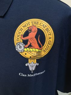 Cotton polo shirt with MacPherson clan crest . Size XL, navy. Clearance item. only one available at this price - half the normal selling price