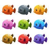 Cute cartoon colorful fishes set. Stock Image