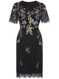 Shop Black V Neck Flowers Embroidered Lace Dress online. SheIn offers Black V…
