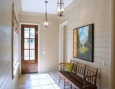 Painted Wood Panels   Pratt & Lambert Lambswool base with Modern Masters Warm Silver dragged on top with a soft brush and aged with a light raw umber glaze Foyer, Entryway, Painting Wood Paneling, Mud Rooms, Wood Walls, Modern Masters, North Beach, Wall Treatments, Cool Rooms