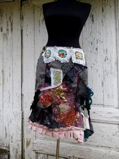 skirt, gypsy,upcycled fashion,salvaged clothing, ruffles,layers and frills, vintage crochet, flower skirt,women fashion,noire, dance,aplique...