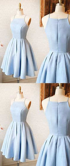 A-Line Spaghetti Straps Homecoming Dress,Sleeveless Light Blue Stretch Satin Short Prom Dress,ED90