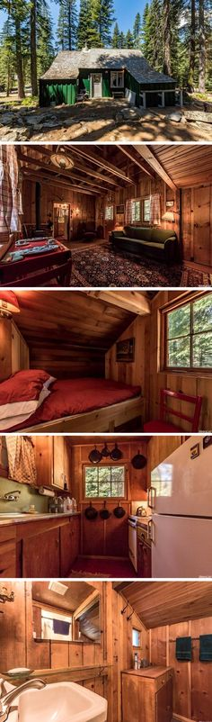 A 500 sq ft Forest Service cabin - space-saving elements for yurt. Tyni House, Tiny House Cabin, Tiny House Living, Cabin Homes, Log Homes, Tiny Homes, Little Cabin, Little Houses, Cabins And Cottages