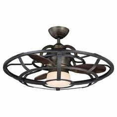 """Industrial-inspired ceiling fan with a cage-inspired design and center lamp with a frosted shade.   Product: Ceiling fanConstruction Material: Metal and glassColor: Dark bronze  Accommodates: (1) Bulb - included Dimensions: 16.25"""" H x 26"""" Diameter"""
