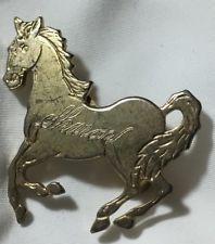 Vtg Horse Pin Brooch Monogrammed Engraved Signed SHARON Gold Tone