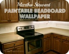 Painted Kitchen Cabinets {The Reveal} - rustoleum countertop kit. Bead board wallpaper backsplash.