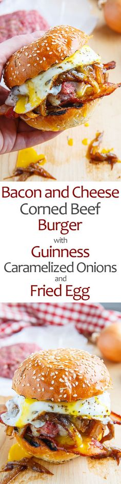 Bacon and Cheese Corned Beef Burger with Guinness Caramelized Onions and a Fried Egg! Delicious corned beef burgers topped with Guinness caramelized onions and melted cheese along with bacon and a fried egg! Burger And Fries, Beef Burgers, Veggie Burgers, Burger Food, Corned Beef, Burritos, Meat Recipes, Cooking Recipes, Hamburger Recipes
