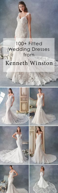 Mermaid, Trumpet, Fit and Flare Fitted Wedding Dresses: These styles hug the body to the hips and flare out loosely. The skirt flows and moves with the body without inhibiting movement. These dresses have a similar feel as when you wear a fitted pencil sk Wedding Dress Styles, Dream Wedding Dresses, Designer Wedding Dresses, Wedding Attire, Bridal Dresses, Wedding Gowns, Lace Wedding, Fashion Design Inspiration, Beautiful Gowns
