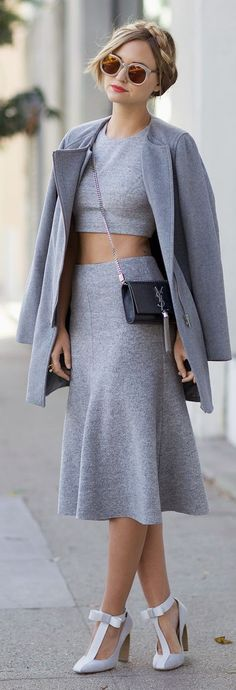 Street style | All grey with braid crown