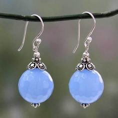 Shop for Sterling Silver 'Glorious Blue' Chalcedony Earrings (India). Free Shipping on orders over $45 at Overstock.com - Your Online World Jewelry Outlet Store! Get 5% in rewards with Club O!