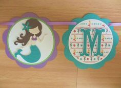 Mermaid Under the Sea Birthday Party Shower Banner Sign Birthday Party Shower Pink Green Purple Aqua Turquoise Blue Teal Dolphin Turtle by PeachyPaperCrafts