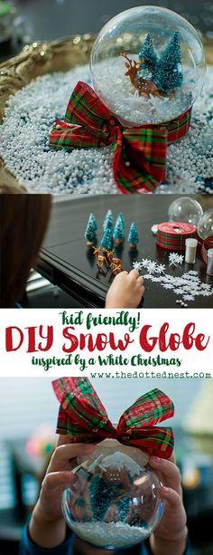 White Christmas Inspired Snow Globe DIY, a Kid Friendly Holiday Craft #ChristmasMoviesHop #SnowGlobeDIY