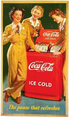 vintage coke signs | Coca-Cola cardboard sign, c.1943, 3 girls in unif
