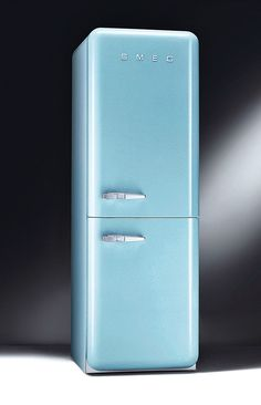 Modern kitchen appliances that come in a range of colors like the Smeg Fab32 refrigerator