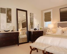 Spaces Large Wall Design, Pictures, Remodel, Decor and Ideas - master bedroom creams and whites with the darker furniture...I need that mirror!