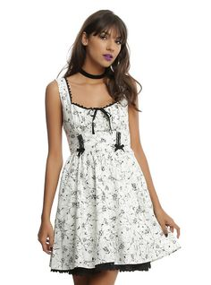 Ivory & Black Bug Print Fit & Flare Dress, IVORY