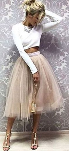 #bestof #instagram #turninghead #spring #outfitideas |White Crop Top + Nue Tulle Skirt |We Got The Look