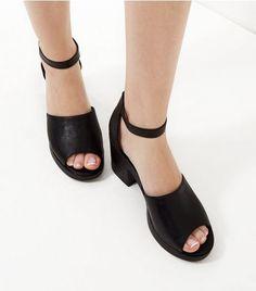Black Peep Toe Ankle Strap Block Heels  | New Look