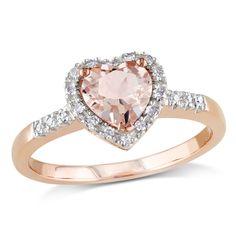 MIMI&MAX Sterling Silver Morganite and Diamond Heart Ring (0.1 Ctw, G-H, I3) - 11 Main