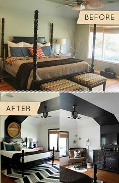 Before & After: A Bedroom Freshened with, you guessed it, Black and White! - Design*Sponge