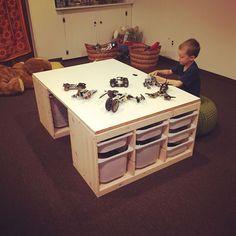 DIY lego table made with 2 IKEA Trofast storage un. - DIY lego table made with 2 IKEA Trofast storage un. Table Lego, Lego Table With Storage, Table Diy, Ikea Table, Ikea Trofast Storage, Toy Storage, Storage Units, Trofast Hack, Storage Organization