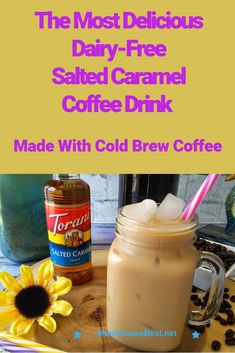 Dairy Free Salted Caramel Cold Brew Coffee Latte with Torani Salted Caramel Syrup This Dairy-Free Salted Caramel Cold Brew Coffee Latte is an easy, three-ingredient drink that so refreshing any time of the day! Salted Caramel Syrup Recipe, Caramel Iced Coffee Recipe, Caramel Recipes, Coffe Recipes, Drink Recipes, Smoothie Drinks, Smoothies, Coffee Latte, Cold Brew